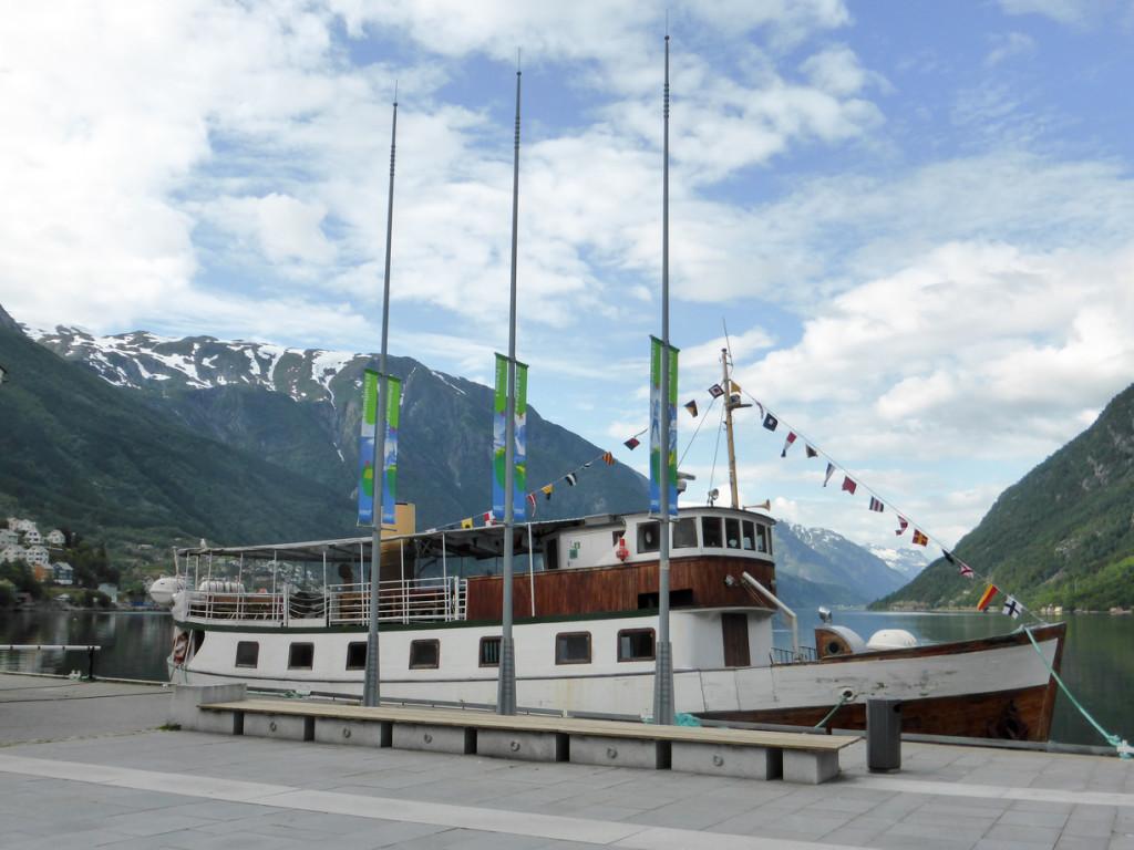 Boat docked in Odda