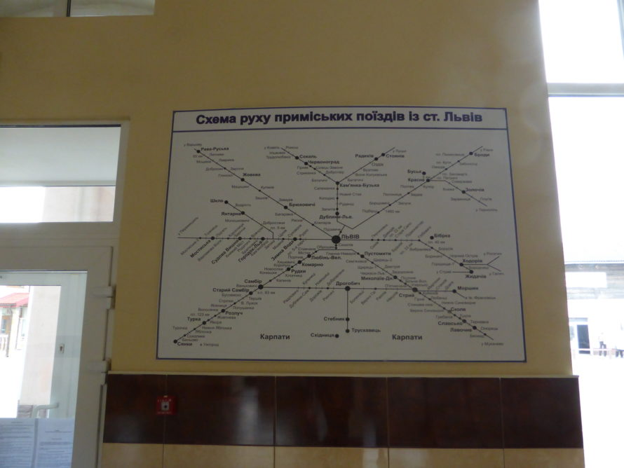 Train destinations map
