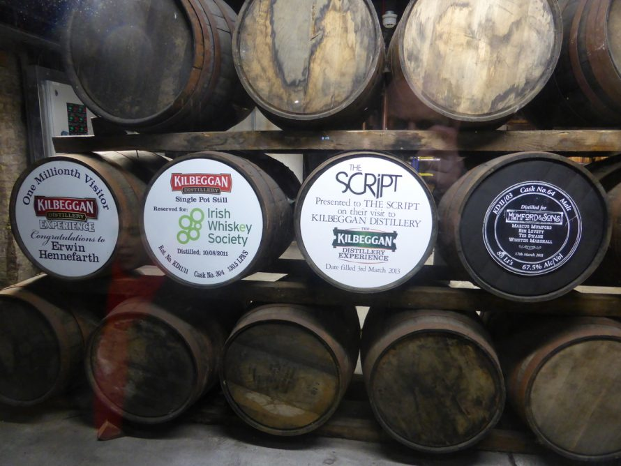 Whiskey casks in storage