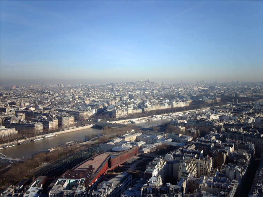 Looking out from the Eiffel Tower