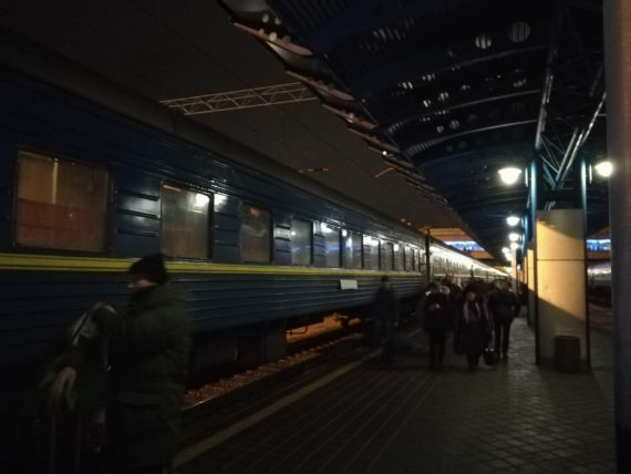 Waiting to board the train from kyiv to moscow