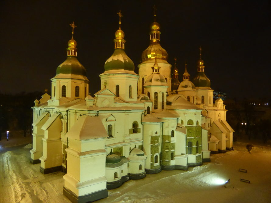 Looking down on Saint Sophia's Cathedral from the Bell Tower
