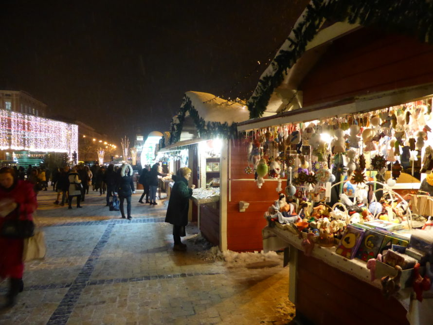 Many market stalls on the square