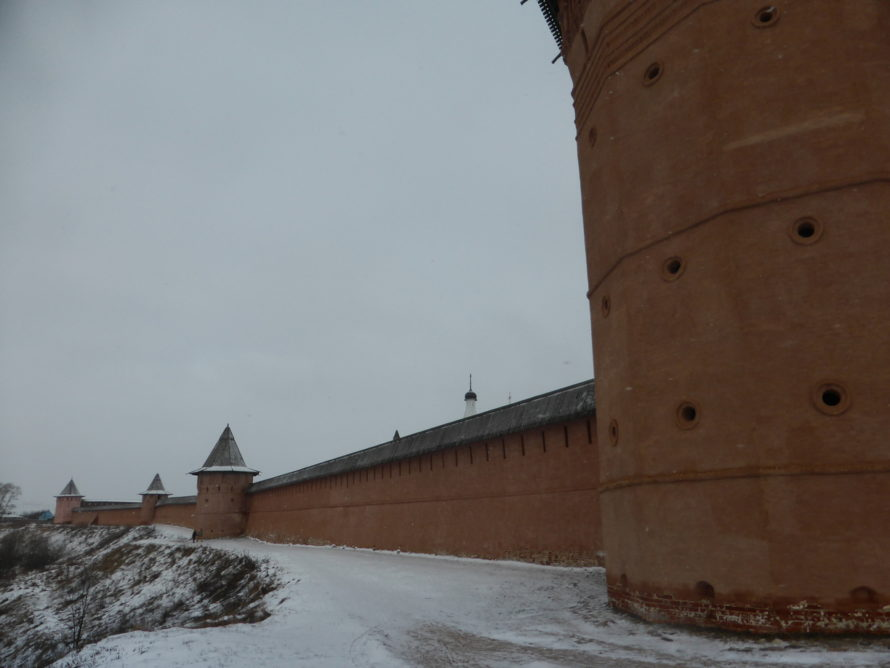 The walls overlooking the Kamenka River