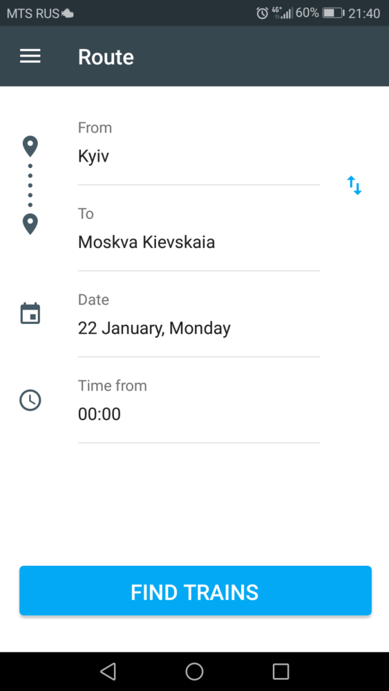 Select the train stations and the date you want to travel