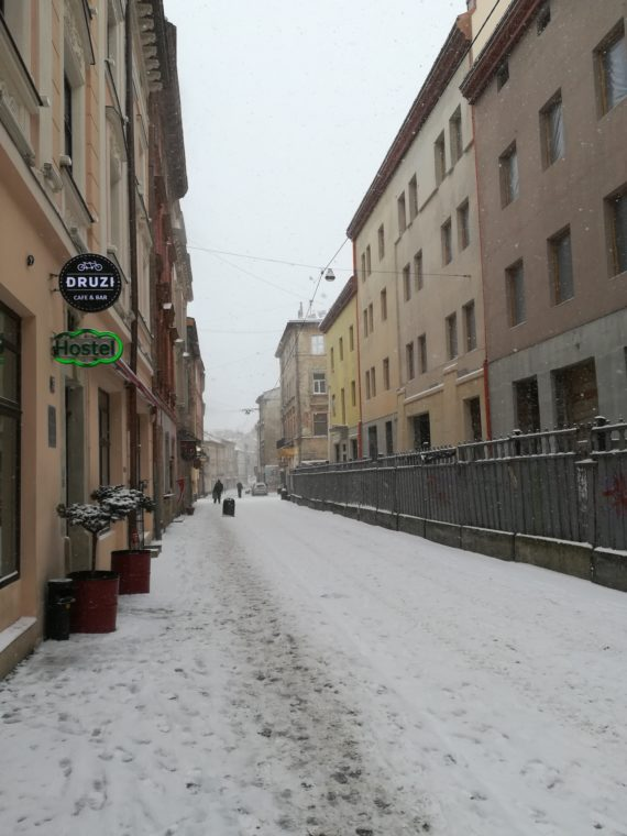 Entrance to the best hostel in Lviv (in winter)